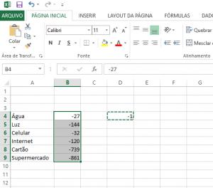 Transformar Números Positivos em Números Negativos no Excel-7