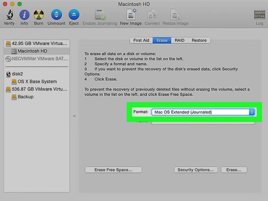 Mac OS Extended (Journaled) é o formato recomendo
