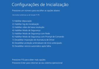 Windows 10 – Iniciando pelo modo de segurança.
