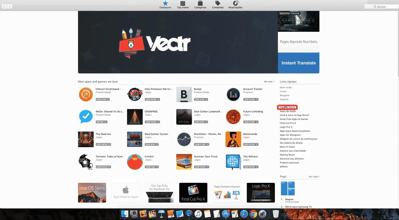 Página inicial da Apple Store