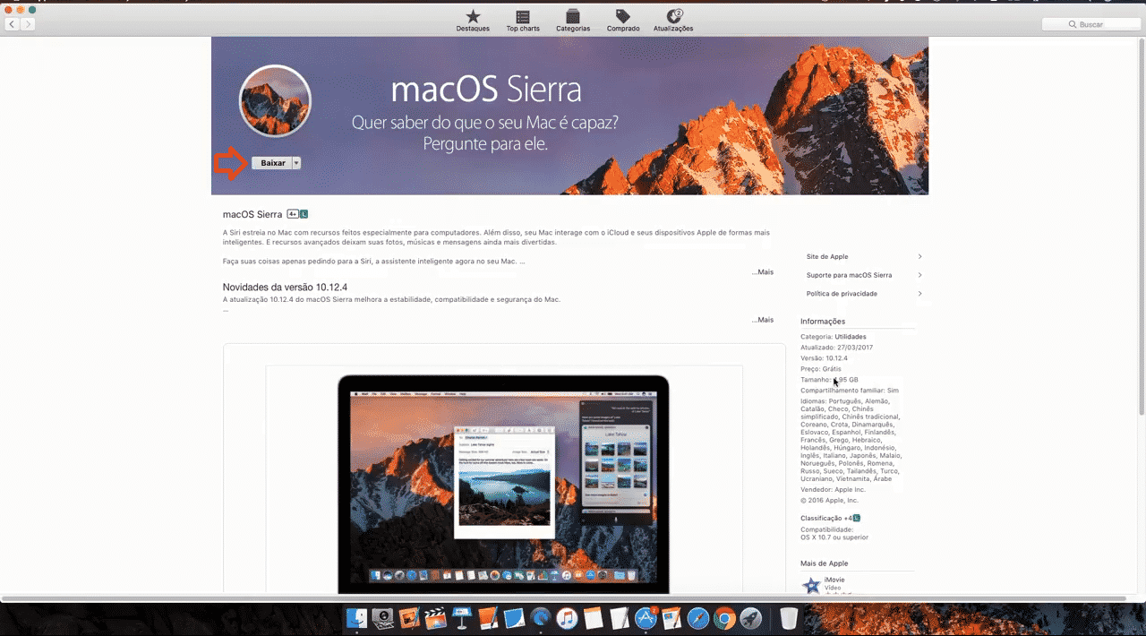 Página do MacOS Sierra na Apple Store