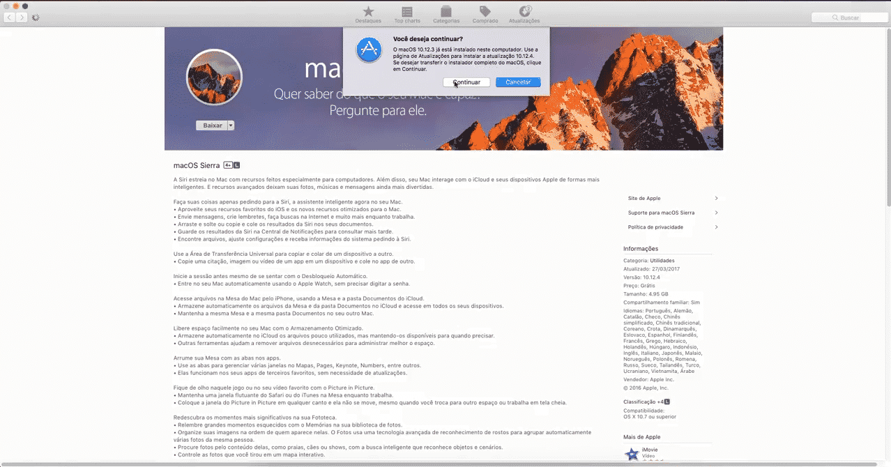Clique em continuar para baixar versão completa do macOS