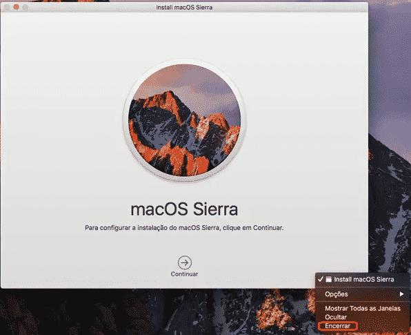 Clique com botão direito em cima do ícone do instalador para encerrrar.